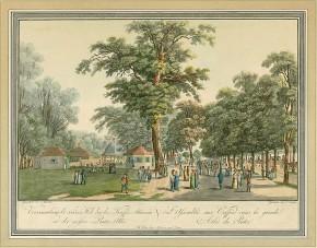 Lorenz Janscha: Spaziergänger vor den Kaffeehäusern im Prater, um 1810