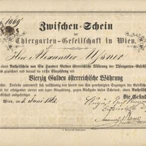 Anteilschein, Tiergarten am Schüttel, 1862