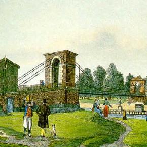 Sophienbrücke/Rotundenbrücke mit Blick auf den Schüttel, nach 1825