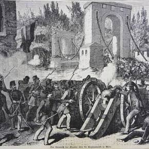 Kroatische Truppen bei der Sophienbrücke/Rotundenbrücke, 1848