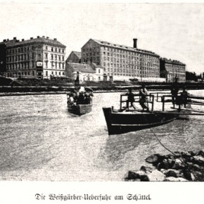 Die Überfuhr mit Blick auf die Mühle am Schüttel, 1900