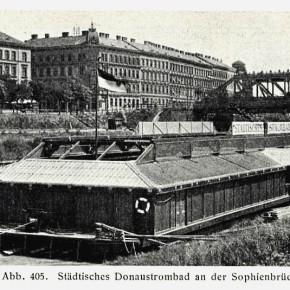 Badeschiff bei der Sophienbrücke/Rotundenbrücke, 1906