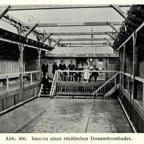 Badeschiff bei der Sophienbrücke/Rotundenbrücke (Innenansicht), 1906