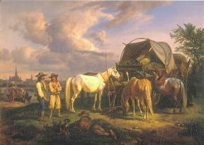 Johann Adam Klein: Ungarische Fuhrleute am Donaukanal, 1828