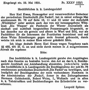»Ich klage deshalb Herrn Karl Kraus an.« Leopold Spitzer, Schüttelstraße 51 (1901, 1902)