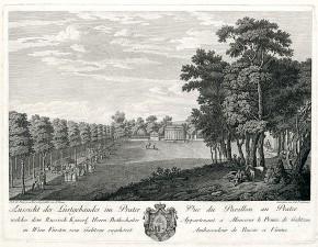 Das Lustschlösschen von Fürst Dmitri Gallitzin (1721-1793) im Prater, nach 1775