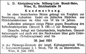 Kundmachung des Lele Bondi-Heimes, Böcklinstraße 59 (Juni 1931)
