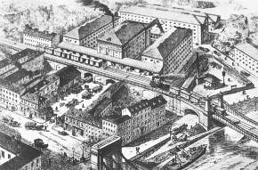 Hugo Stein und die Lagerhäuser. Rustenschacherallee 42/Böcklinstraße 65 und Franzensbrückenstraße/Vivariumstraße (1928)