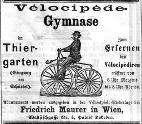 Modesport Radfahren: Tiergarten am Schüttel (1869), Marxergasse 9 (1870)