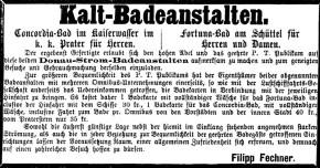 Anfahrt inklusive: Per Schiff zum Fortuna-Bad am Schüttel, 1867