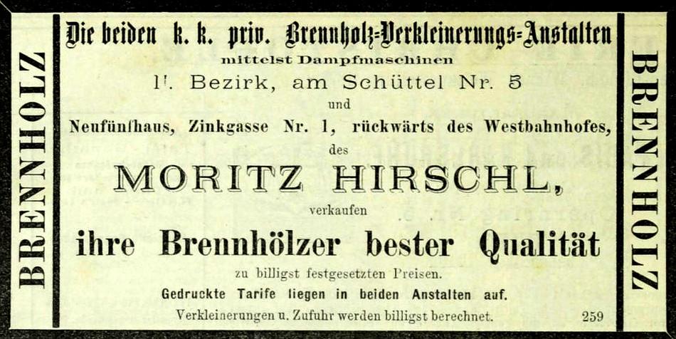 Moritz Hirschl, Inserat, 1875