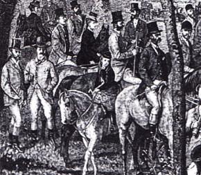 1872: Kaiserliche Jagdgesellschaft in Gödöllö. Owen Maurits Roberts van Son, Schüttelstraße ca. Nr. 15 sowie Rustenschacherallee Nr. 6 und Nr. 8