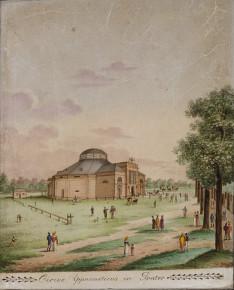 Der Circus Gymnasticus (Circus de Bach) auf der Zirkuswiese (ca. 1820)