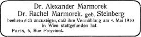 4. Mai 1910: Trauung im Stadttempel. Sigmund Epler, Böcklinstraße 59