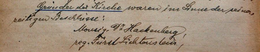 Gründer der Erlöserkirche am Schüttel, Pfarrchronik-Fürst Liechtenstein