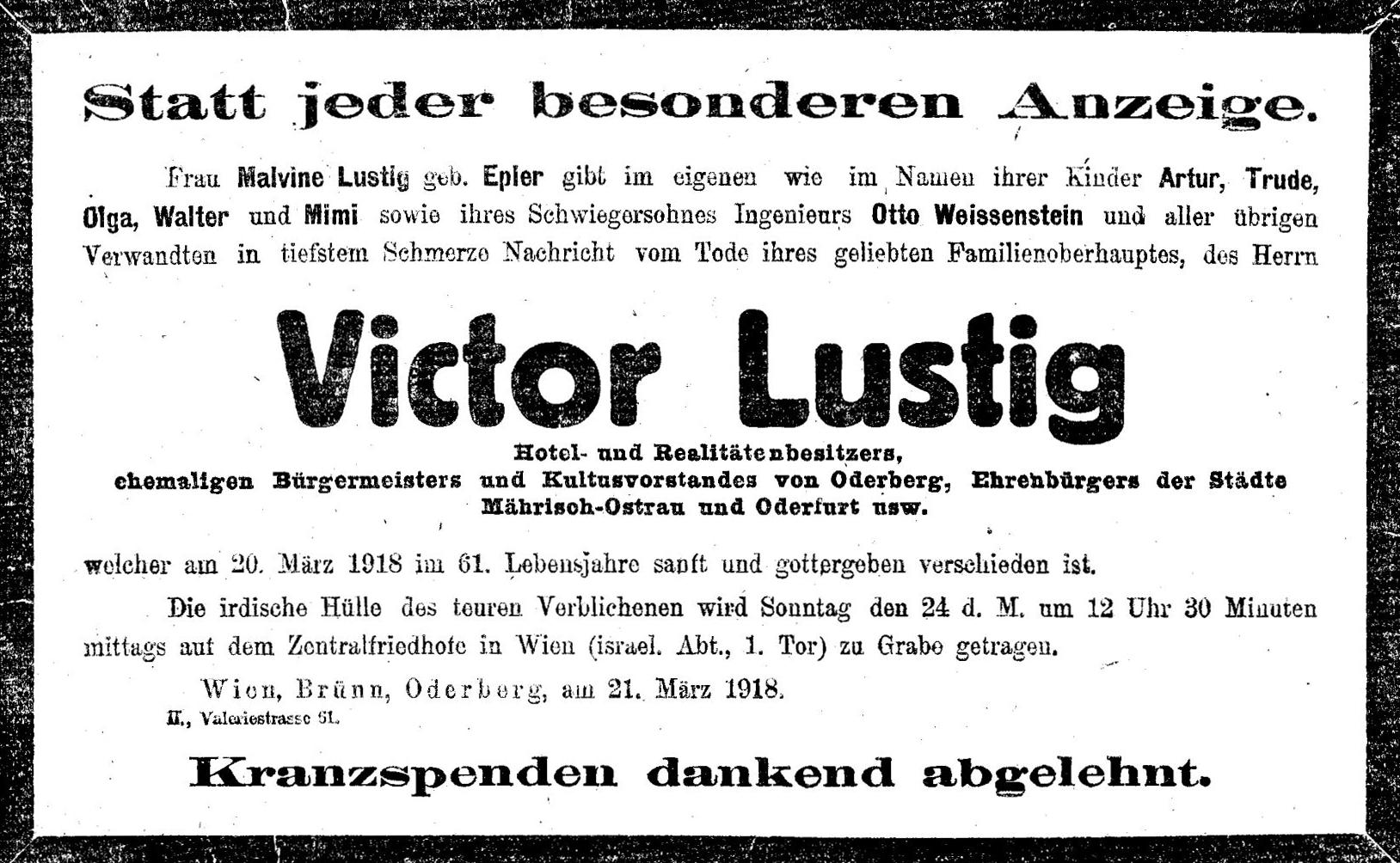 Traueranzeige Victor Lustig, 1918
