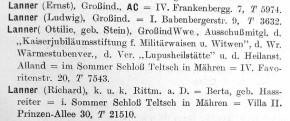 Franz Kafkas Wiener Verwandtschaft: Richard Lanner, Rustenschacherallee 30 (1906–1923), Teil 1