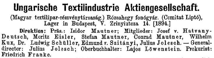 Ungarische Textilindustrie-Aktiengesellschaft, 1911