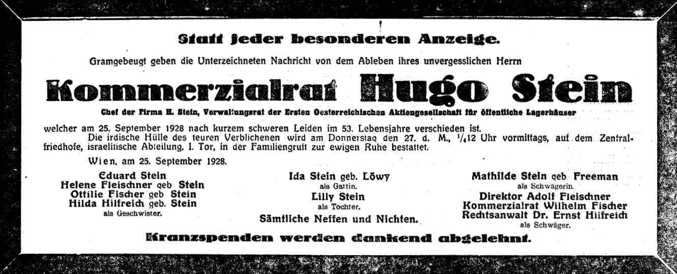 Traueranzeige Hugo Stein, 1928