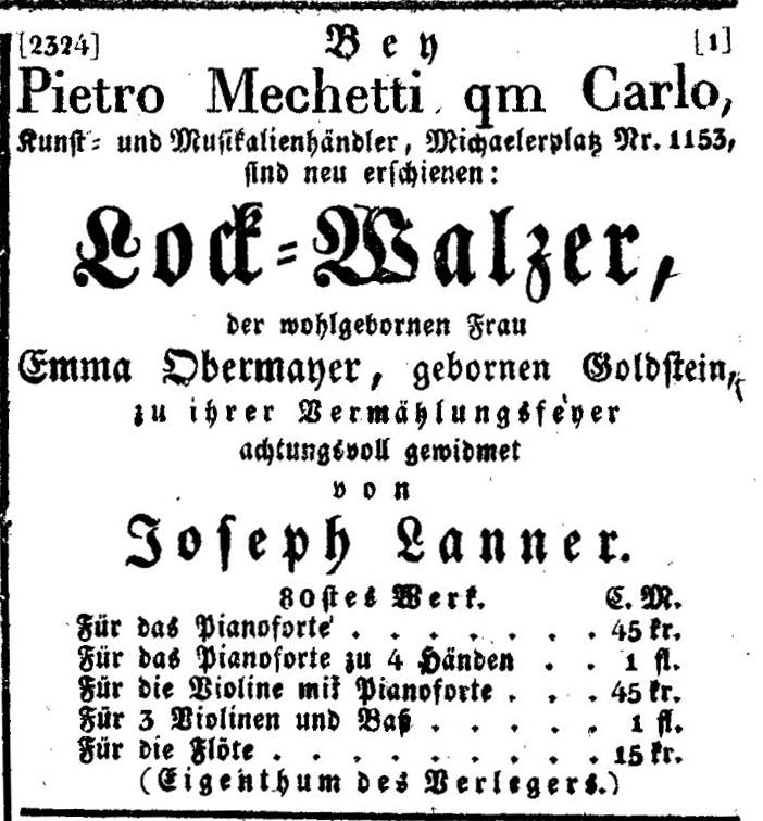 Joseph Lanner: Lock-Walzer, 1833