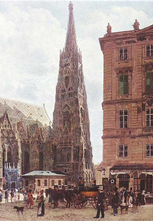 Rudolf von Alt: Stephansplatz (Detail), 1832