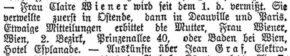 Claire Wiener wird vermisst. Rustenschacherallee 40 (1914)